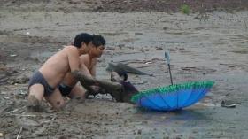 组图:农妇深陷沼泽8小时后获救