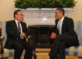 吴邦国在白宫与奥巴马举行会晤