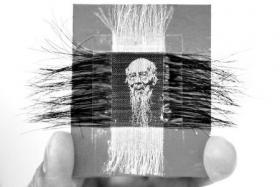 老人用头发编织肖像 屏住呼吸稳定气息